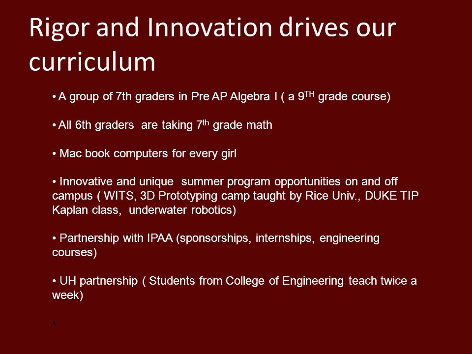 Rigor and Innovation drives our curriculum