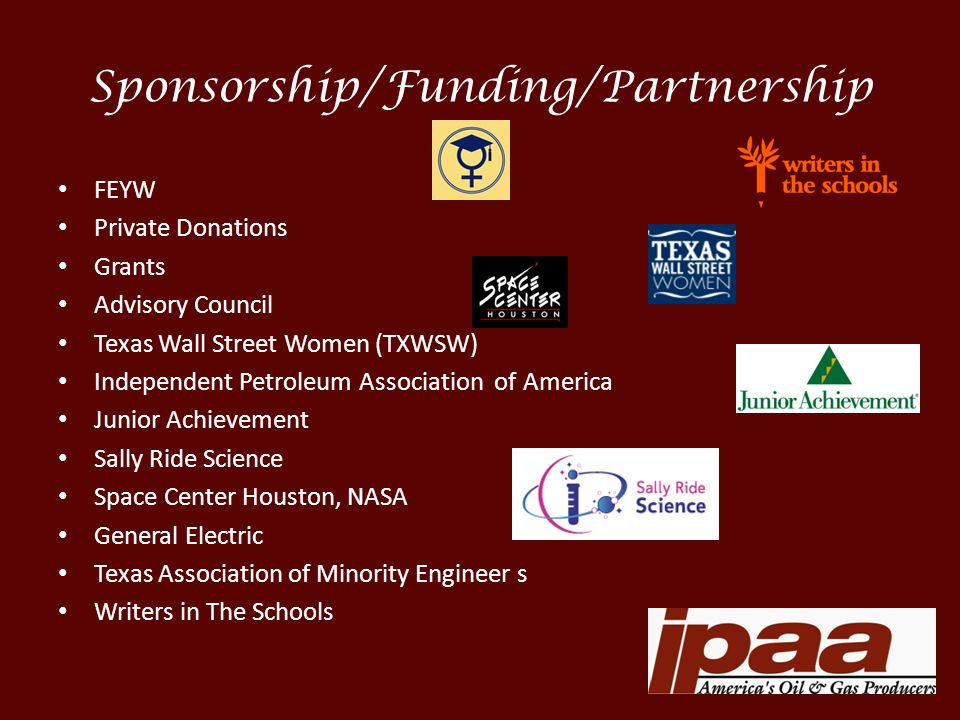 Sponsorship/Funding/Partnership