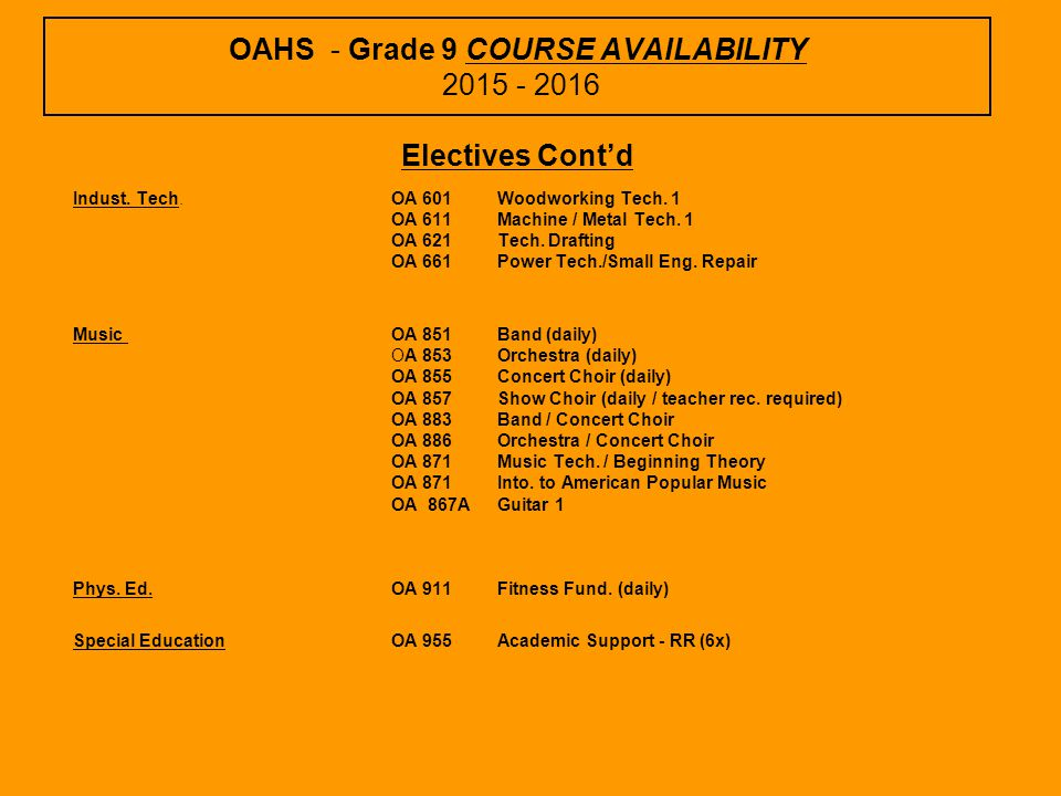 OAHS - Grade 9 COURSE AVAILABILITY 2015 - 2016