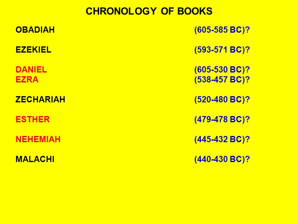 CHRONOLOGY OF BOOKS OBADIAH (605-585 BC) EZEKIEL (593-571 BC)