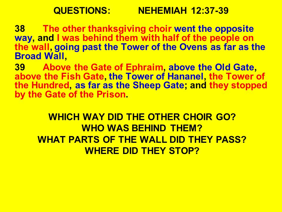 QUESTIONS: NEHEMIAH 12:37-39