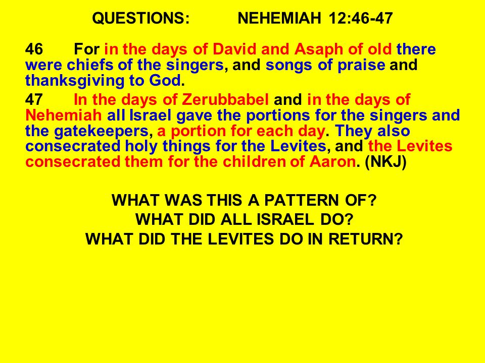 QUESTIONS: NEHEMIAH 12:46-47