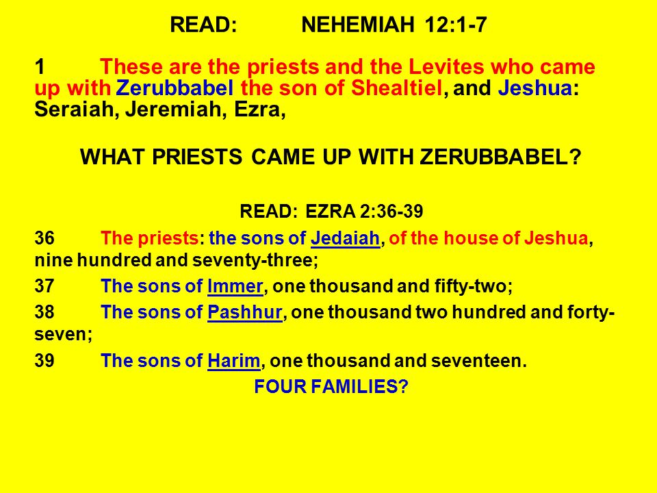 WHAT PRIESTS CAME UP WITH ZERUBBABEL