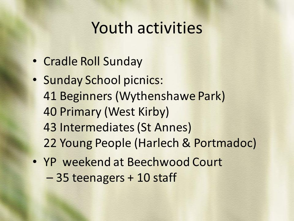 Youth activities Cradle Roll Sunday