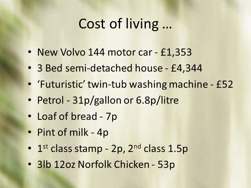 Cost of living … New Volvo 144 motor car - £1,353