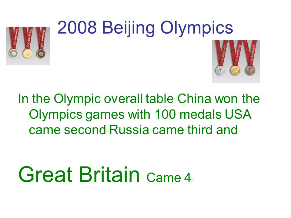 Great Britain Came 4th 2008 Beijing Olympics