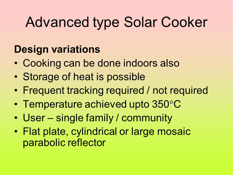 Advanced type Solar Cooker