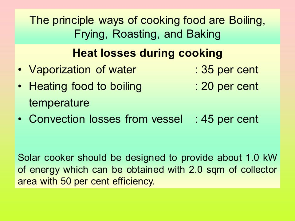 Heat losses during cooking