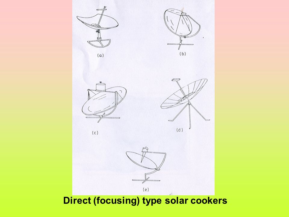 Direct (focusing) type solar cookers