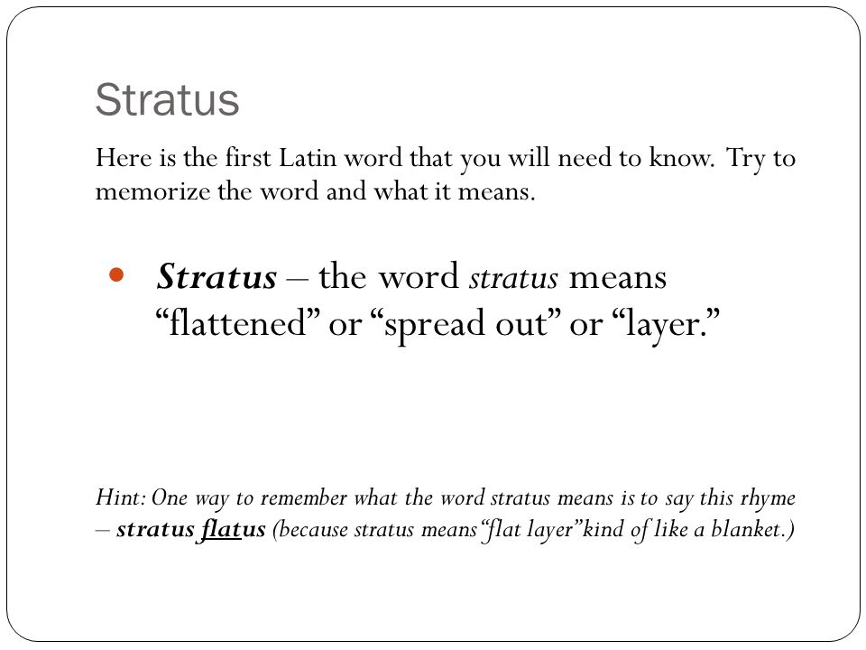 Stratus Here is the first Latin word that you will need to know. Try to memorize the word and what it means.