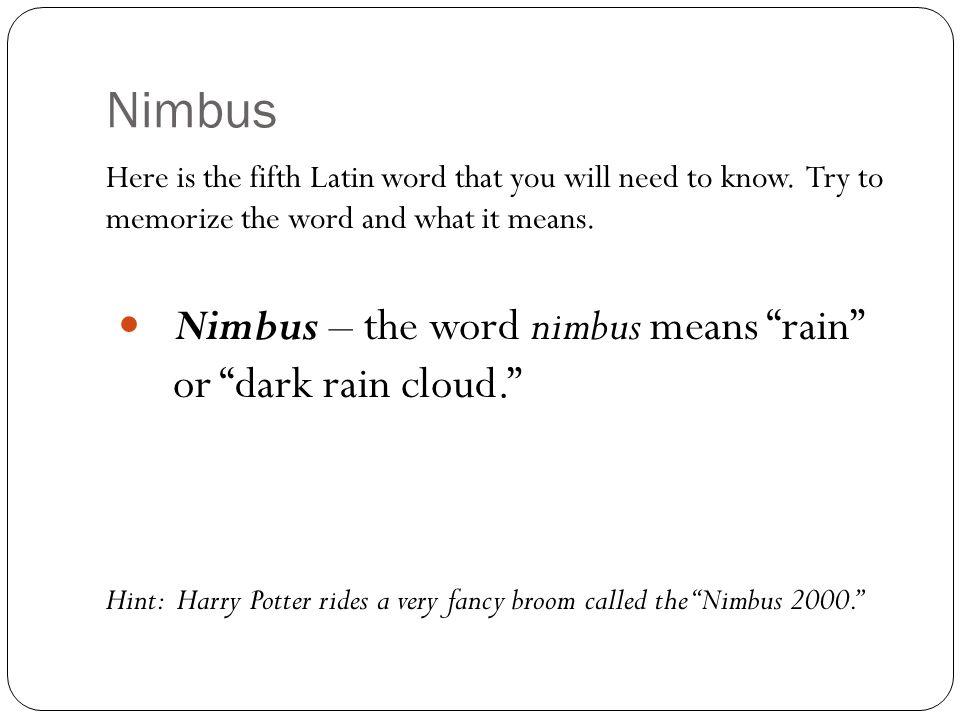 Nimbus Nimbus – the word nimbus means rain or dark rain cloud.