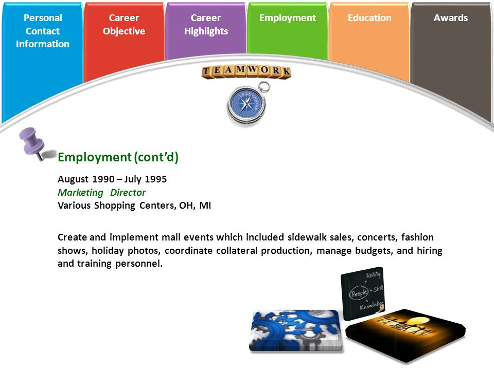 Employment (cont'd) August 1990 – July 1995 Marketing Director