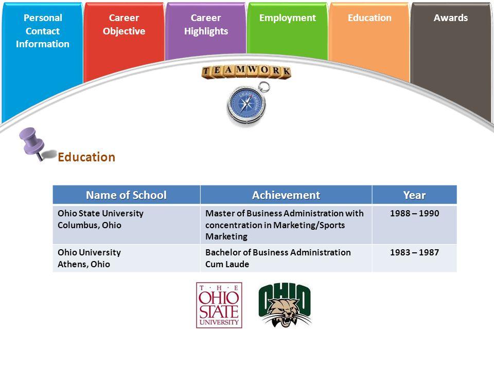Education Name of School Achievement Year Ohio State University
