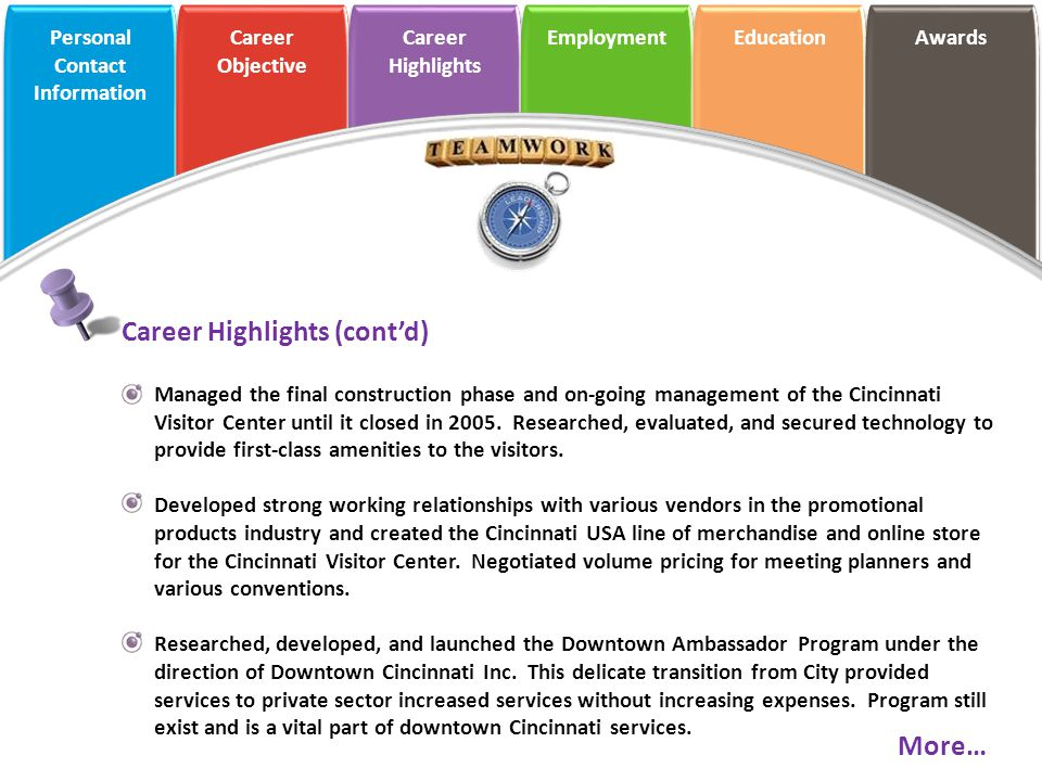 Career Highlights (cont'd)