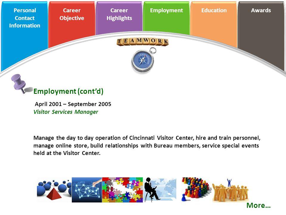 Employment (cont'd) More… April 2001 – September 2005