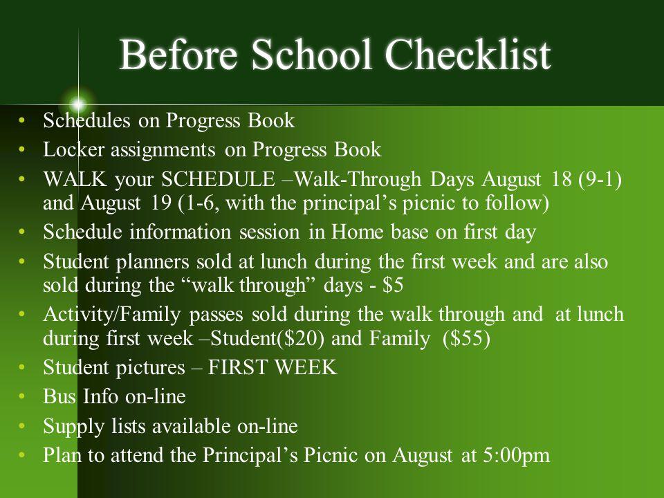 Before School Checklist