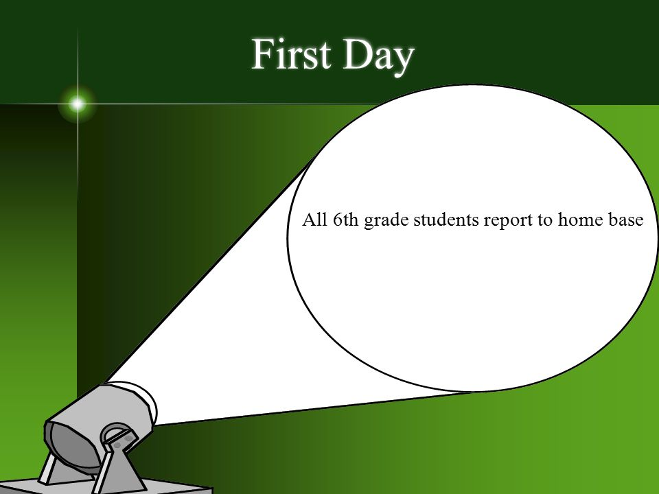 First Day All 6th grade students report to home base rick