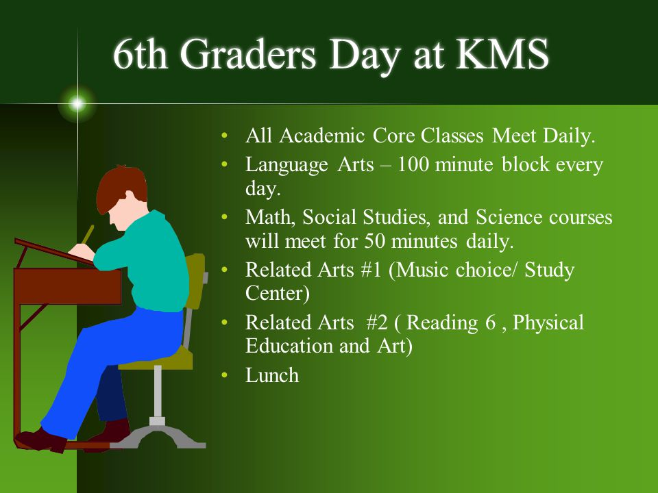 6th Graders Day at KMS All Academic Core Classes Meet Daily.