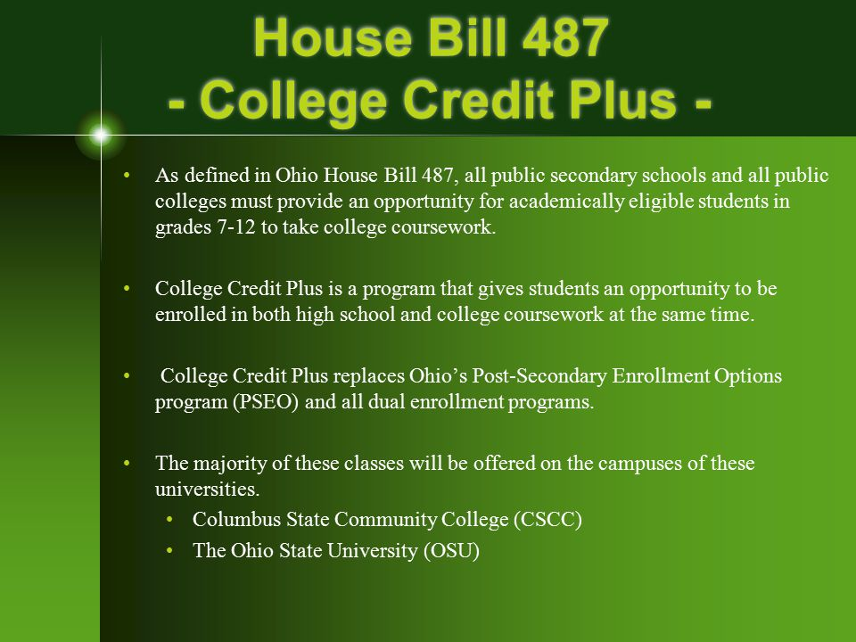House Bill 487 - College Credit Plus -