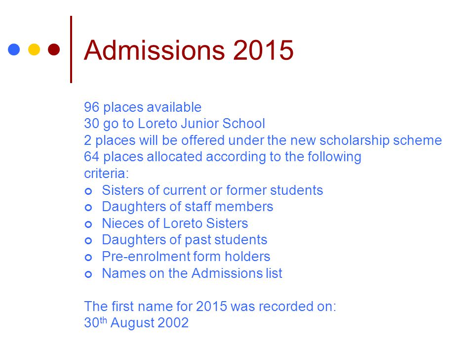 Admissions 2015 96 places available 30 go to Loreto Junior School
