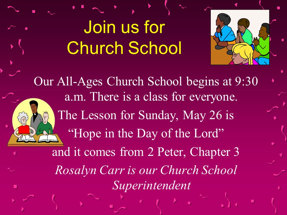 Join us for Church School