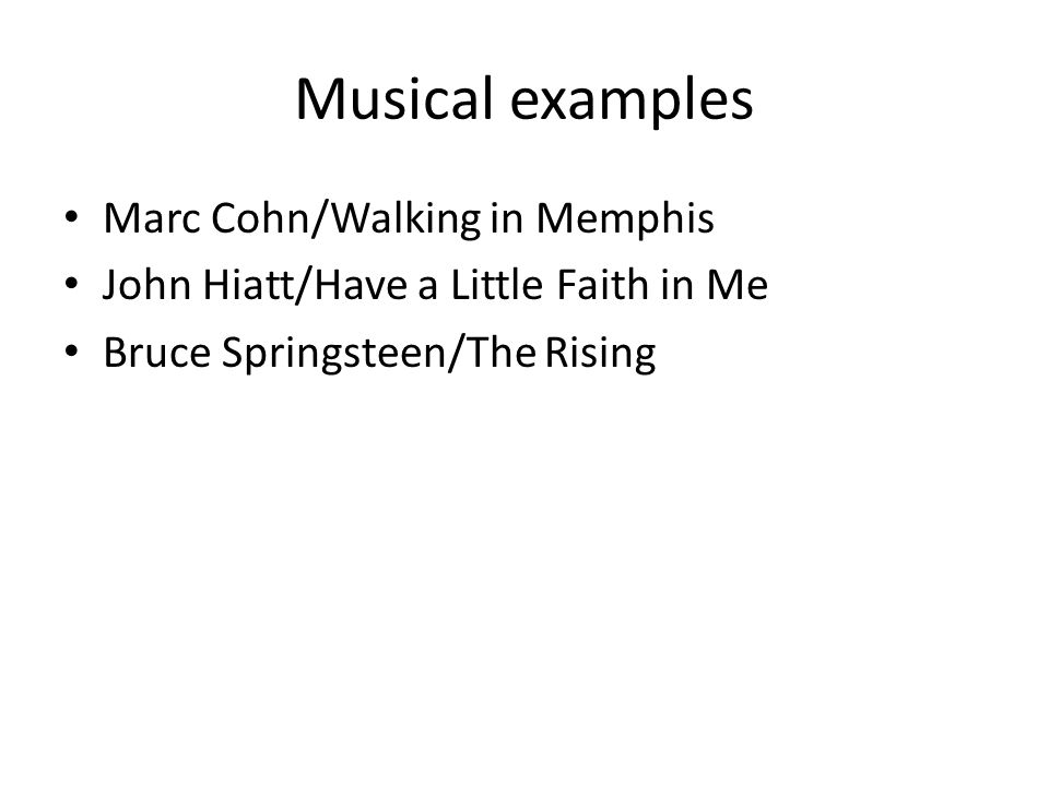 Musical examples Marc Cohn/Walking in Memphis