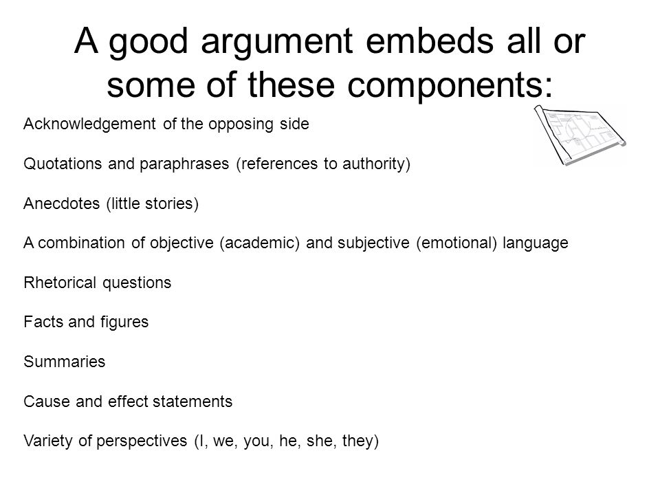 A good argument embeds all or some of these components: