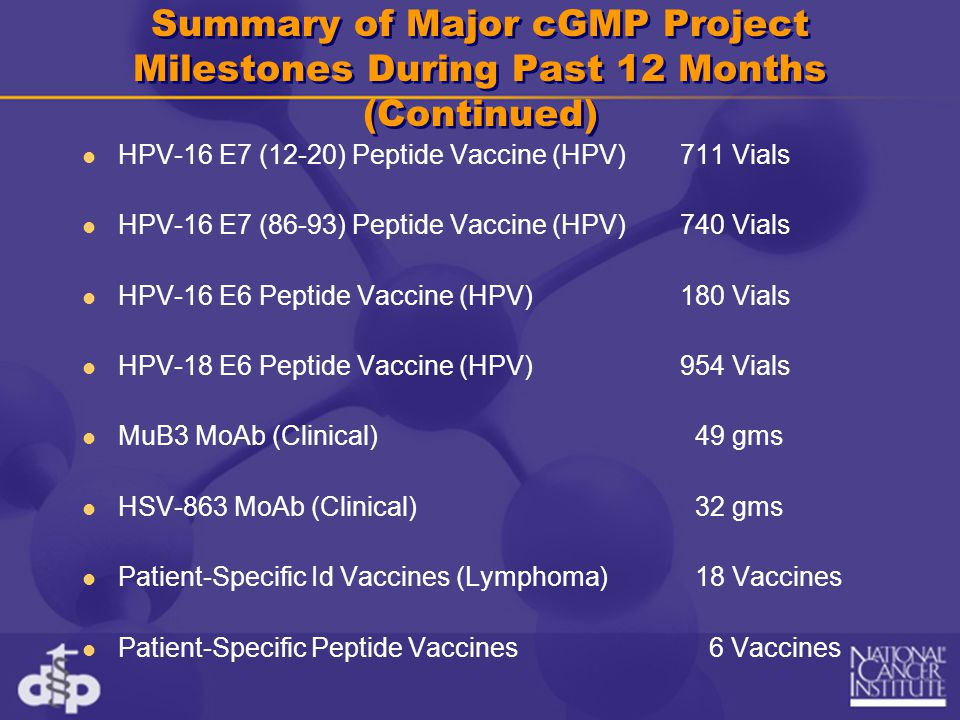 Summary of Major cGMP Project Milestones During Past 12 Months (Continued)