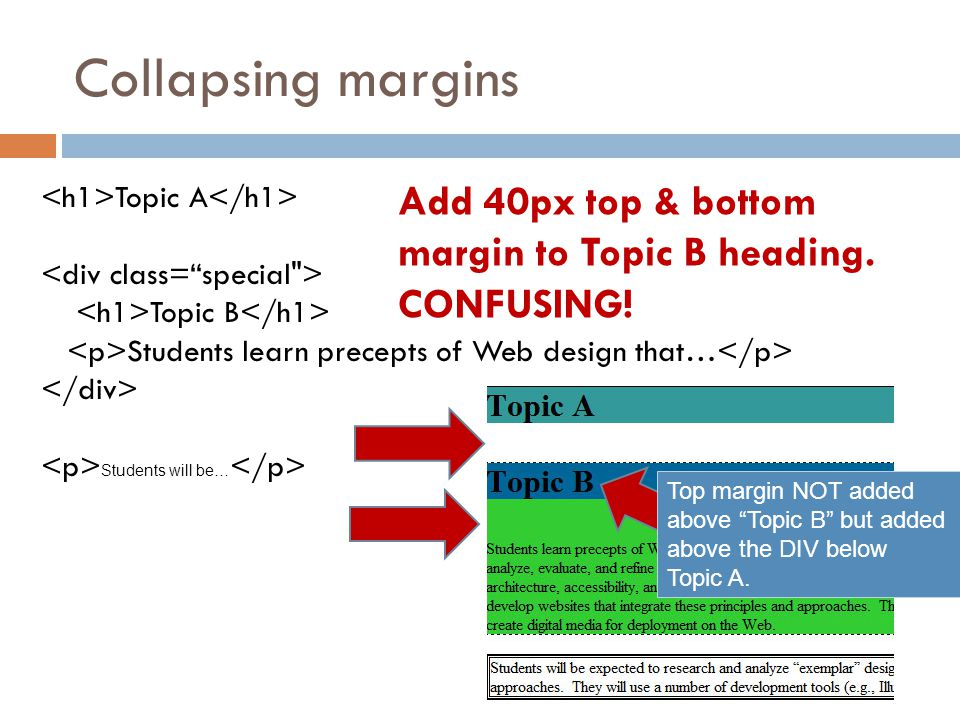 Collapsing margins <h1>Topic A</h1> <div class= special > <h1>Topic B</h1> <p>Students learn precepts of Web design that…</p>