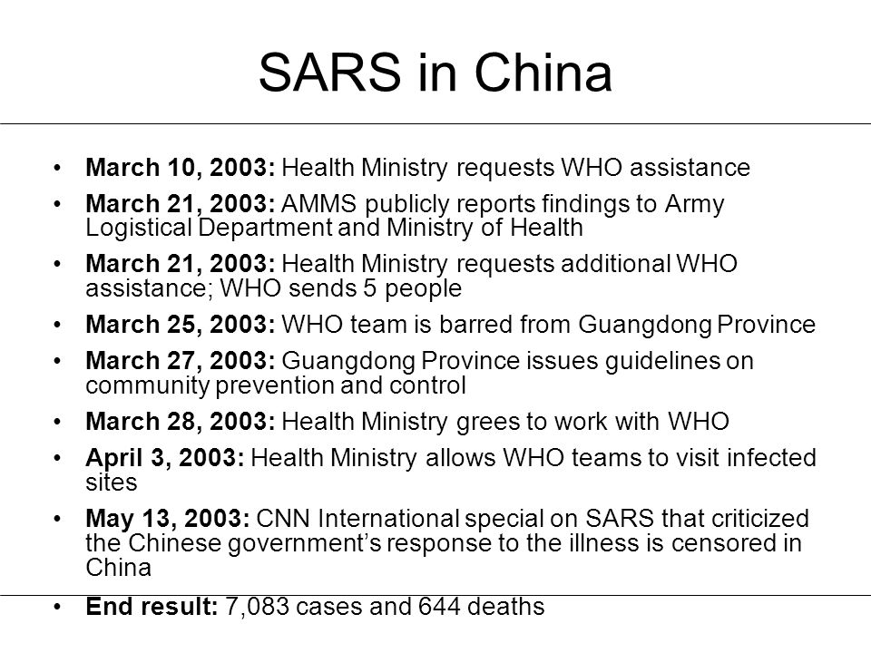 SARS in China March 10, 2003: Health Ministry requests WHO assistance