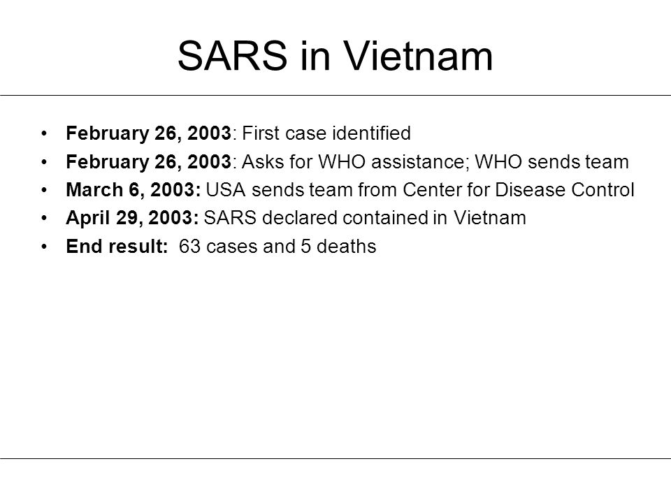 SARS in Vietnam February 26, 2003: First case identified