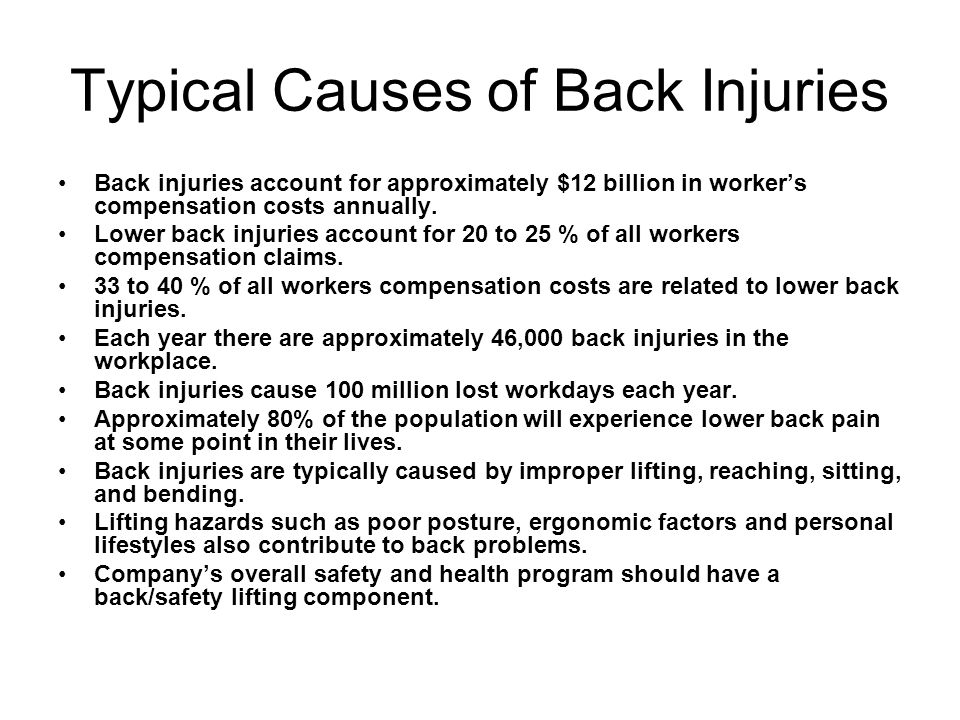 Typical Causes of Back Injuries