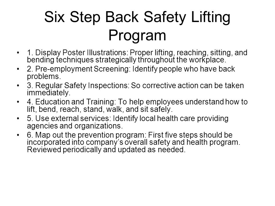 Six Step Back Safety Lifting Program