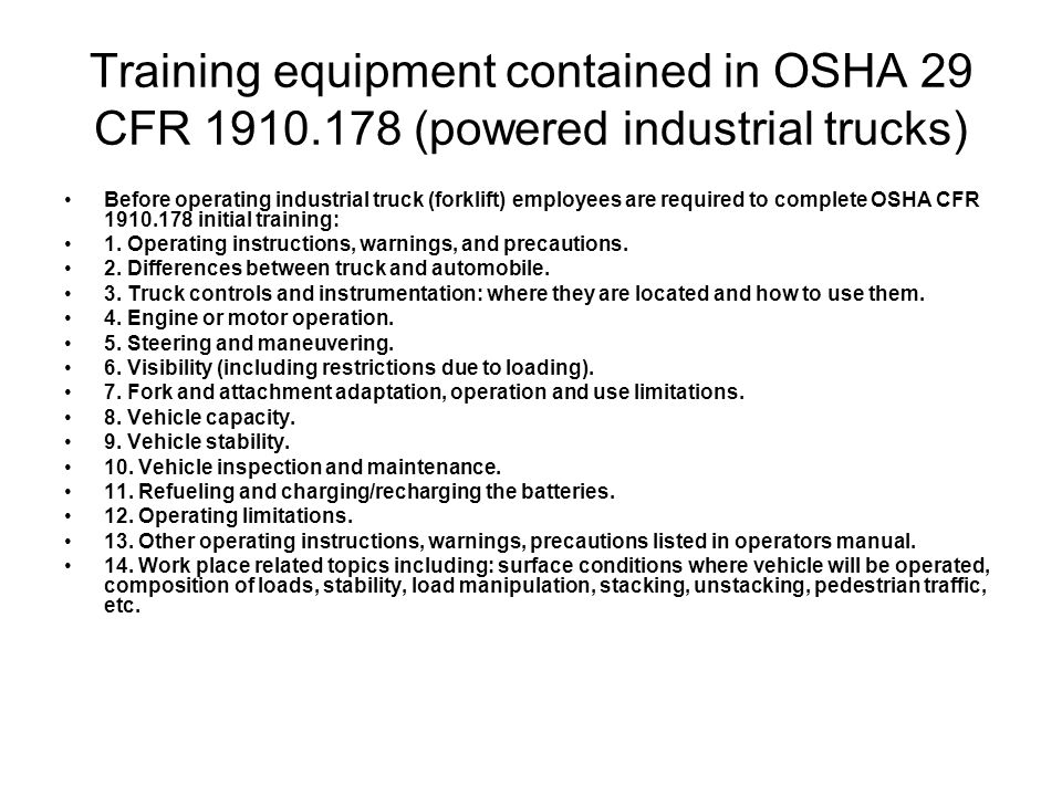 Training equipment contained in OSHA 29 CFR 1910