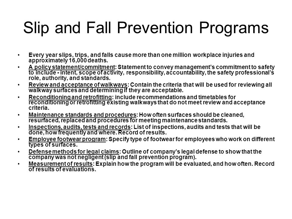 Slip and Fall Prevention Programs