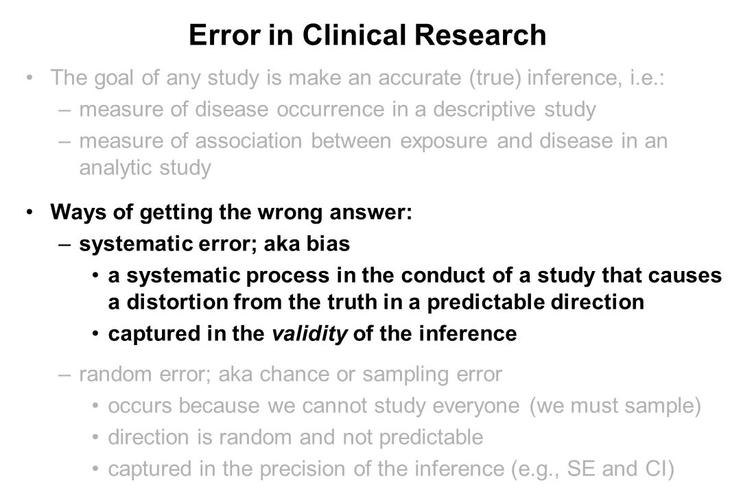 Error in Clinical Research