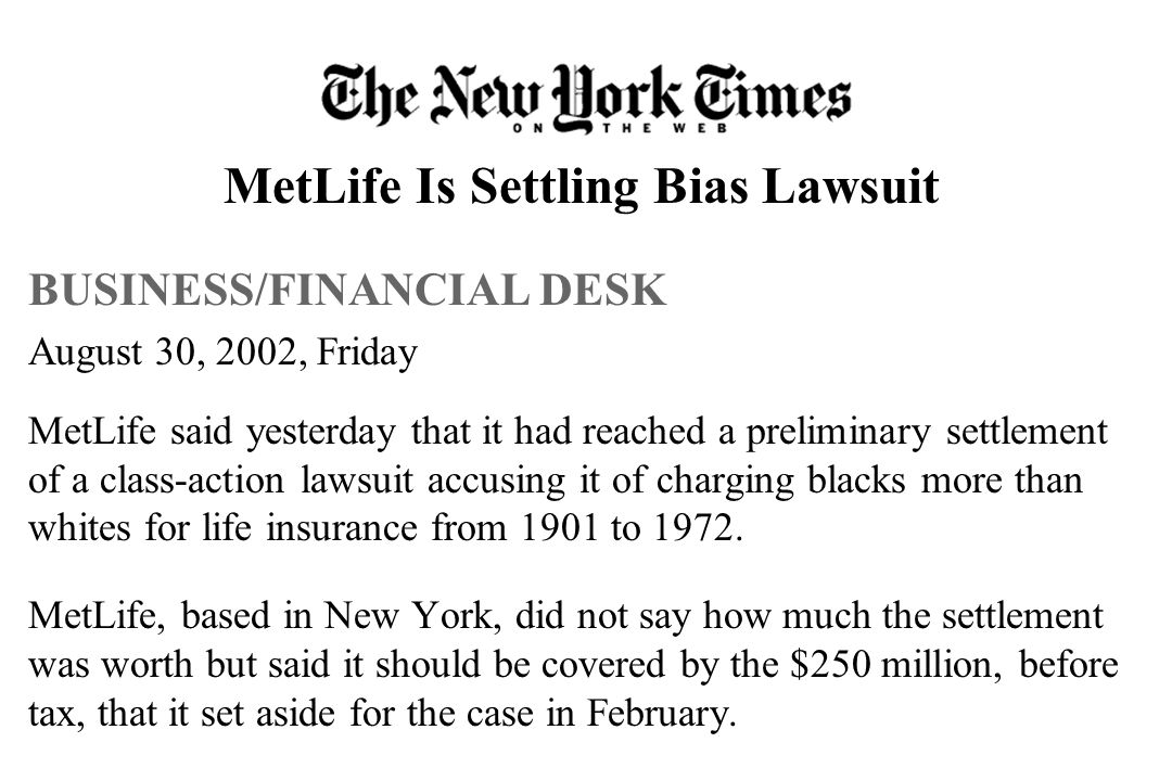 MetLife Is Settling Bias Lawsuit