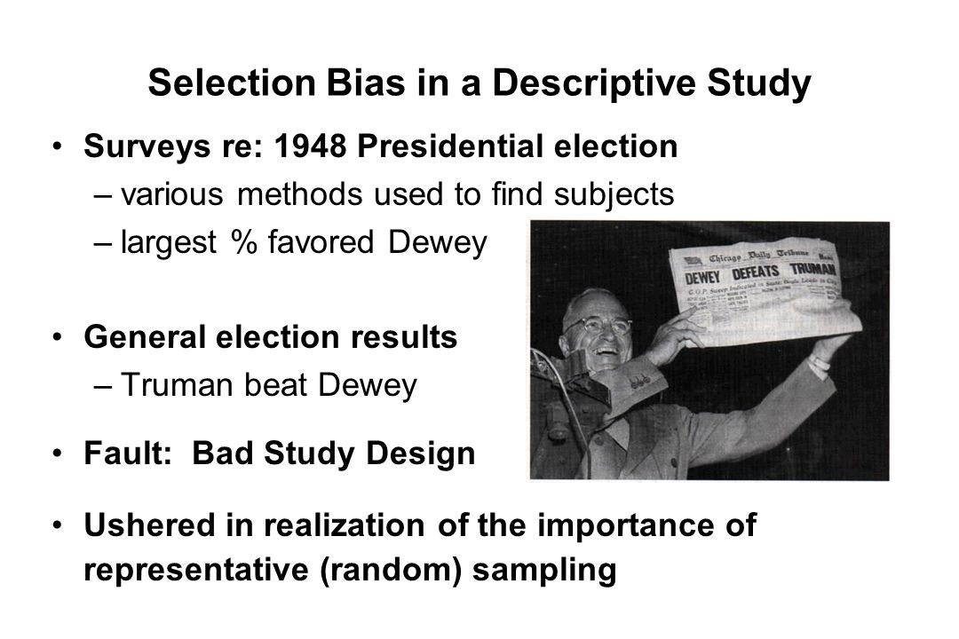 Selection Bias in a Descriptive Study