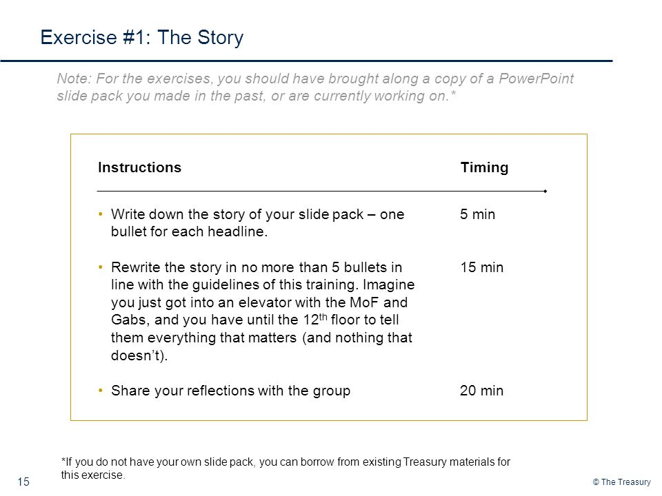 Exercise #1: The Story