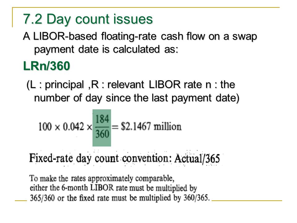 7.2 Day count issues A LIBOR-based floating-rate cash flow on a swap payment date is calculated as: