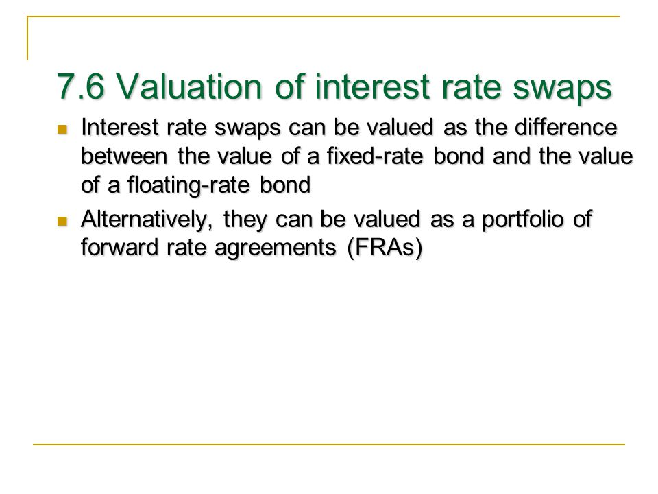 7.6 Valuation of interest rate swaps