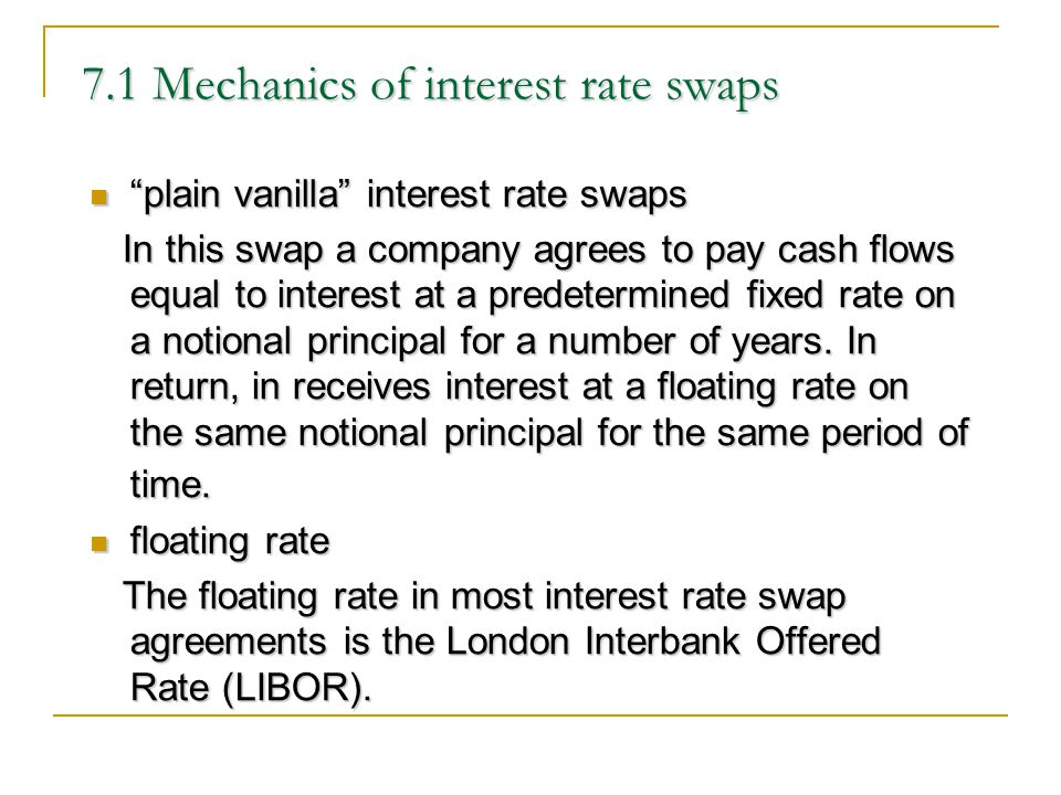 7.1 Mechanics of interest rate swaps