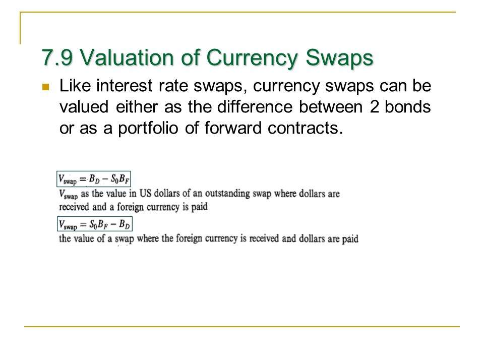 7.9 Valuation of Currency Swaps