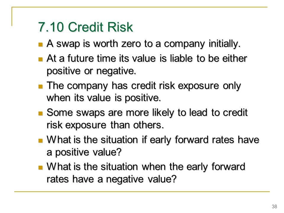 7.10 Credit Risk A swap is worth zero to a company initially.