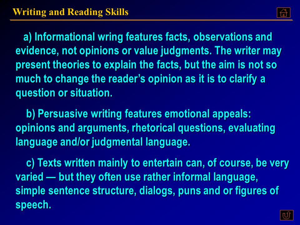 Writing and Reading Skills