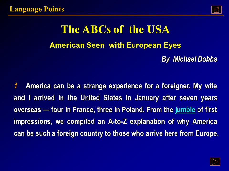 American Seen with European Eyes