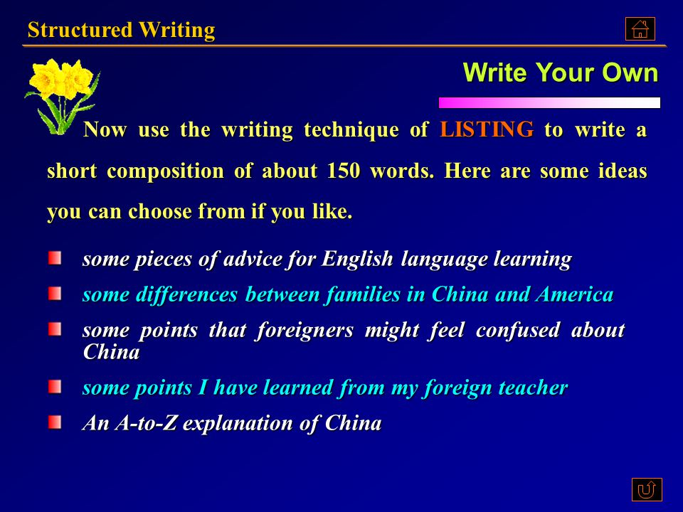 Write Your Own Structured Writing