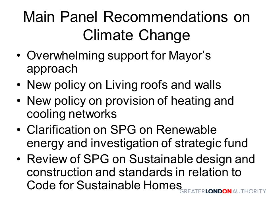 Main Panel Recommendations on Climate Change