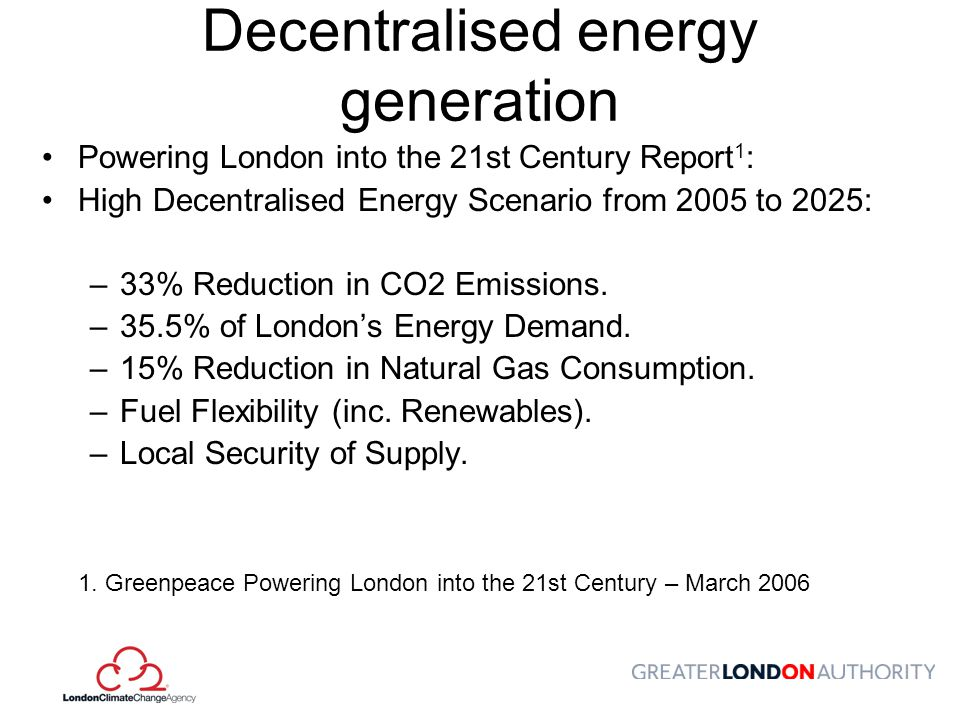 Decentralised energy generation
