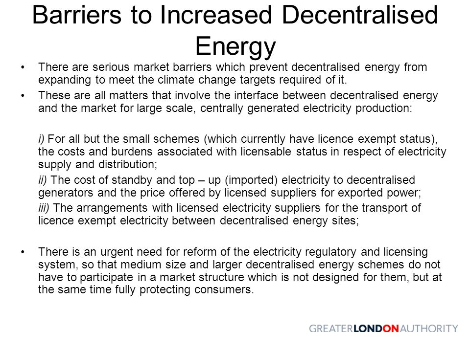 Barriers to Increased Decentralised Energy
